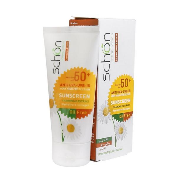 کرم ضد آفتاب فاقد چربی رنگی⁺SPF50 مناسب پوست های مختلط و چرب۵۰ میلی لیتر شون